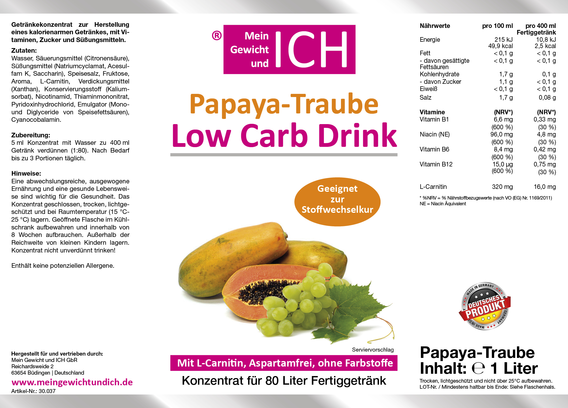 Low Carb Sirup mit L-Carnitin 1:80 | Schuck Fitness